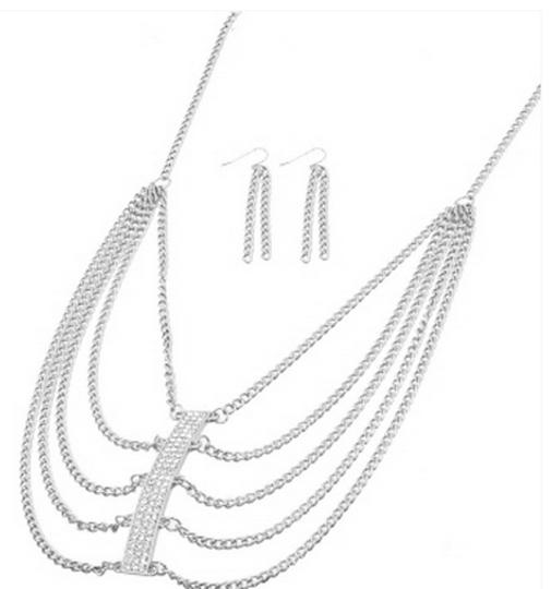Other MULTI-CHAIN NECKLACE AND EARRINGS SET WITH RHINESTONE ACCENTS