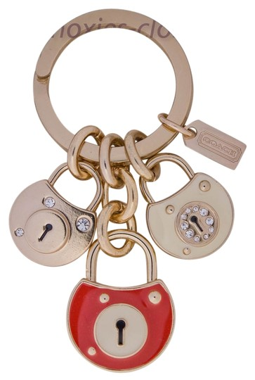 Coach COACH - NWOT PAVE' TRIPLE LOCKS KEYFOB / KEYCHAIN #61914 - Brass/Multi-Color