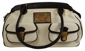 Chopard Ivory Fabric Black Leather Tote
