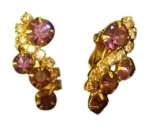 Vintage Vintage Earrings clip on gold w/ purple tone stone