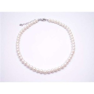 Cream Synthetic Necklace Cultured Pearls Choker W/ Lobster Claw Clasp