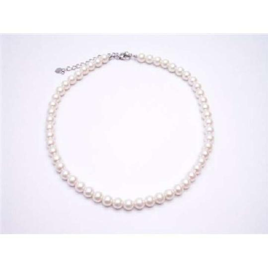 Cream Synthetic Cultured Pearls Choker W/ Lobster Claw Clasp Necklace