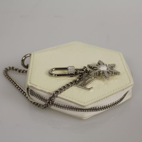 Louis Vuitton Ivory Patent Leather Snowflake Flocon MM Coin Purse