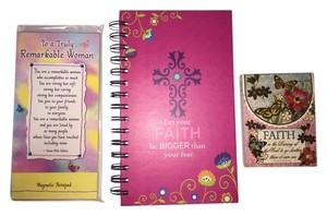 Other Woman of Faith Gift Set; Dual Wire Spiral Journal, 'Refrigerator' Magnet Note Pad and Jeweled Purse Pad [ MissSundayBest ]