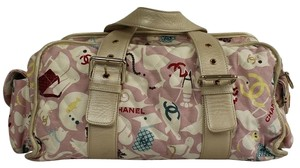 Chanel Fabric Leather Animated Travel Tote Pink Diaper Bag