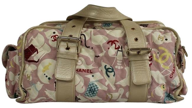 Item - Gold Leather Animated Pink Fabric Diaper Bag