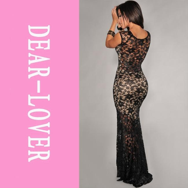 Black and beige Maxi Dress by Forever 21 Lace Sexy Long Elegant Sleeveless