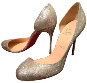 Christian Louboutin Sparkle Wedding D'orsay Glitter Silver Pumps