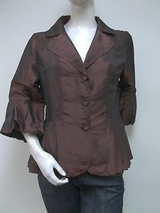 Piano Piano Brown Iridescent Taffeta Bubble Sleeve Blazer Jacket 80973