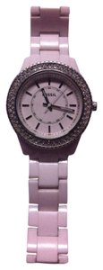 Fossil Womens White Crystal Watch