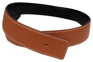 Hermès Hermes 32 Mm Belt Strap For H Buckle Size 65 Gold Courchevel On Black Box Calf Leather