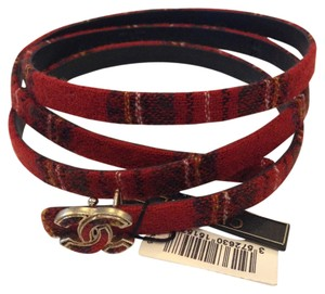 Chanel CHANEL AUTHENTIC NWT SKINNY RED TWEED BELT
