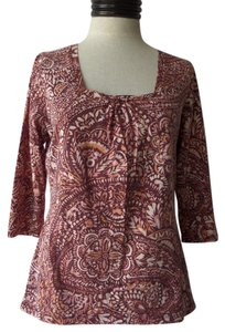 Liz Claiborne Top Brown & Pink Geometric