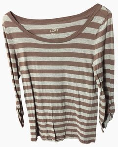 Ann Taylor LOFT T Shirt Grey and Brown