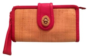 Coach Tan/pink with Gold Accent Clutch