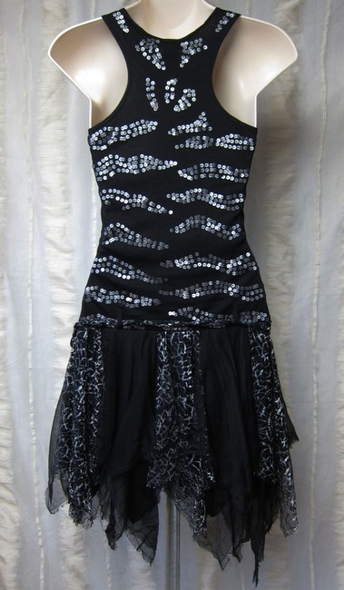 Arden B. Sequins Unique Drop Waist Tulle Layered Goth Patchwork Silver Dress