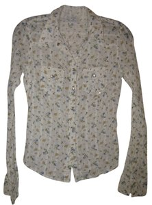 Abercrombie & Fitch Button Down Shirt Cream w/blue and yellow flower design