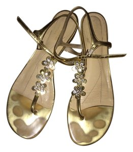 Kate Spade T Strap Thong Gold Sandals
