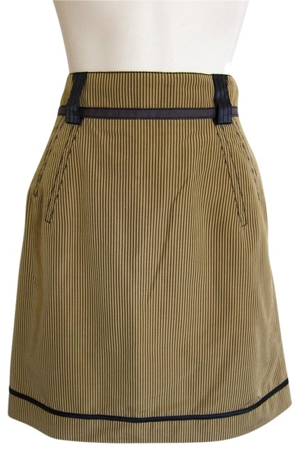 Zac Posen Pencil Stripe Pinstripe Retro Mod Skirt black, tan