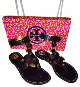 Tory Burch Gladiators Brown Gold Sandals Designer New With Tags Dark brown Flats