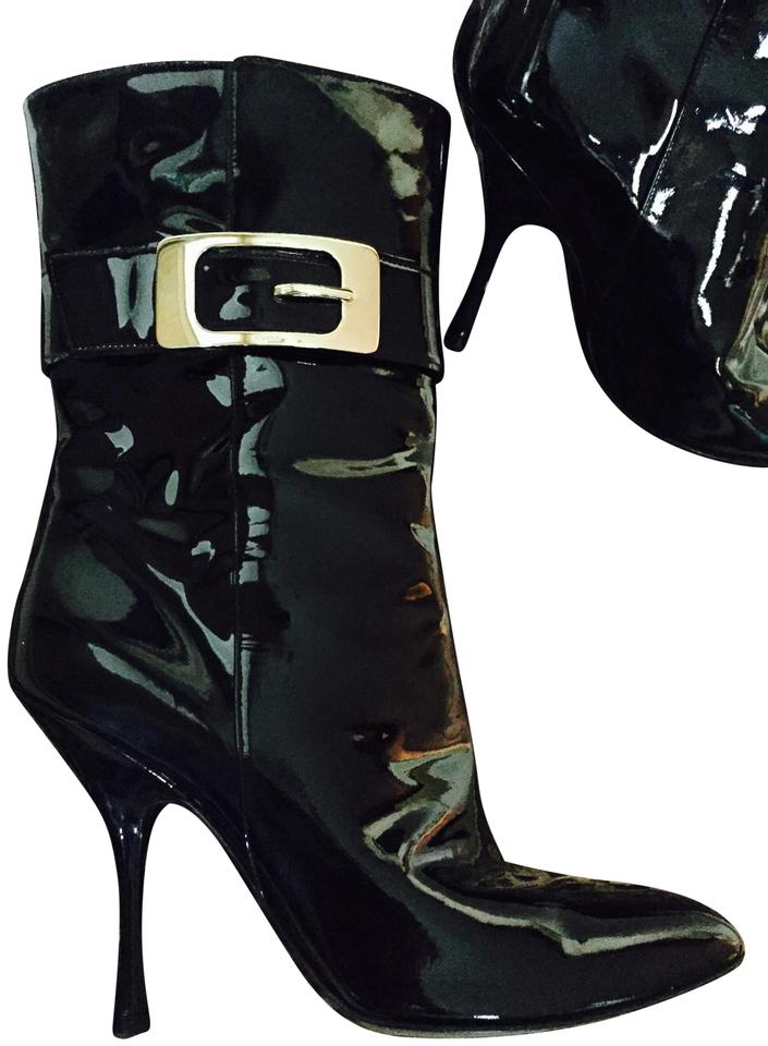 fd49af9645 Gucci Black Patent Leather Boots Booties Size US 8 Regular (M