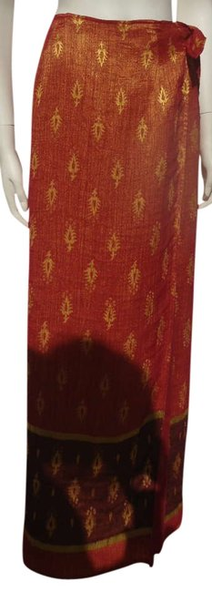 Item - Burnt Orange Gold Brown Classy Indian Style Skirt Size 12 (L, 32, 33)