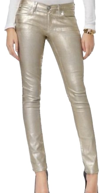 Item - White Gold Holographic Foil- Foil Sz27 Skinny Jeans Size 27 (4, S)