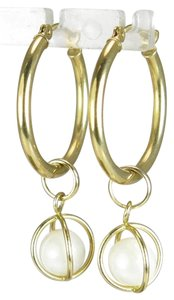 Other 14K 20mm Hoop Pearl Jacket Dangle Earrings