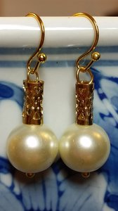 Crystazzi Glass Pearl Earring 10mm With Gold Tube. Great For Bridesmaids Or Bride.