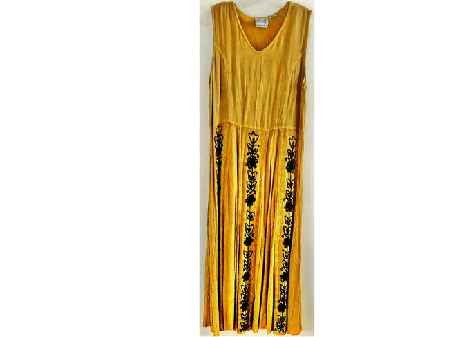camel Maxi Dress by Speed Limit 98 2-piece Set Embroidered