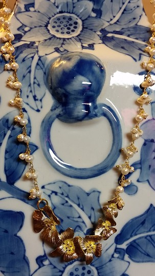 """Adjustable 17"""" - 19"""" Freshwater Pearl Gold Necklace With 24k Gold Plated Flower Orchids."""
