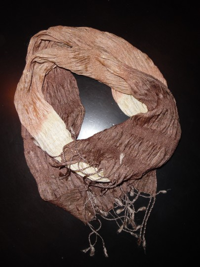 Other Brown, Beige, Gold Stretchy Sparkly Wrinkled Scarf