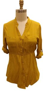 Forever 21 Button Down Shirt Yellow