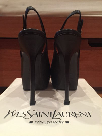 Saint Laurent Dark Grey Slingback Pumps
