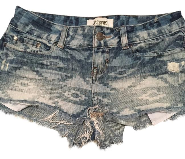 PINK Cut Off Shorts Camouflage /tribal denim