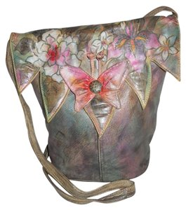 Studio J Hand Painted Leather Cross Body Bag