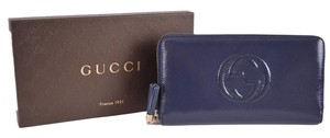 Gucci Soho Vernice Leather Zip Around Travel Wallet Blue Clutch