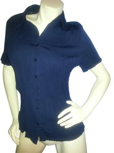 Fred David No Iron Crinkle Button Down Shirt Navy Blue