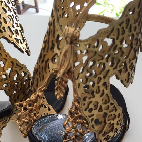 Segio Rossi Gold And Black Sandals