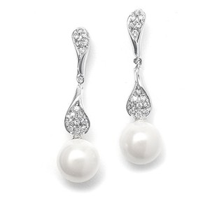 Mariell Curved Cz Pave Dangle Earrings With Pearl 3040e