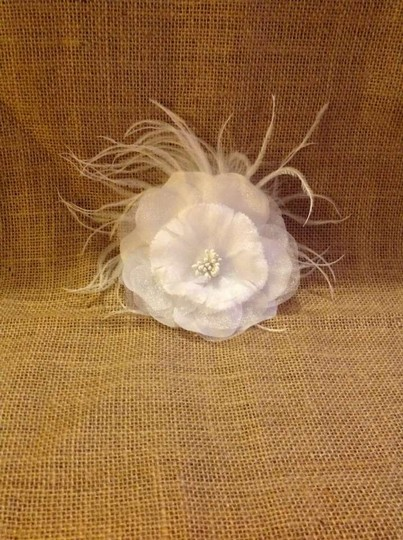 Preload https://img-static.tradesy.com/item/303765/white-flower-with-ostrich-feathers-hair-clip-broochpin-0-0-540-540.jpg