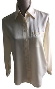 Ann Taylor Button-downs Button-downs Silk Silk Silk Button-downs Button -downs Size 8 Size 8 Size 8 Button -downs Top Ivory