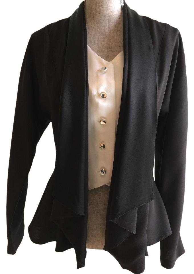 50eb5a89fa Black Ivory Black Ivory Jacket-attached Vest Small) Cardigan. Size  6 ...
