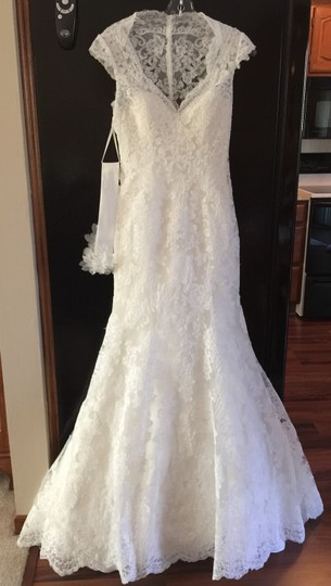 Eddy K Ivory Lace Over Satin Couture Gown Vintage Wedding Dress Size 4 (S)