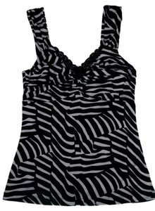 White House | Black Market Animal Print Zebra Print Top Black, White