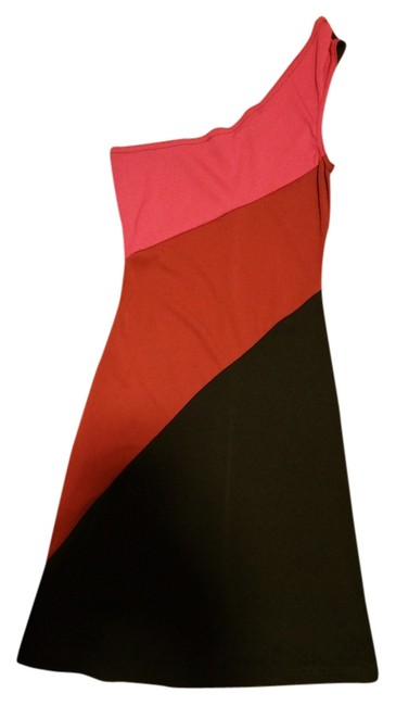 La Belle Multi Colored Front One Strap Fits Small /0-2 Strretchy Solid Black Back Dress
