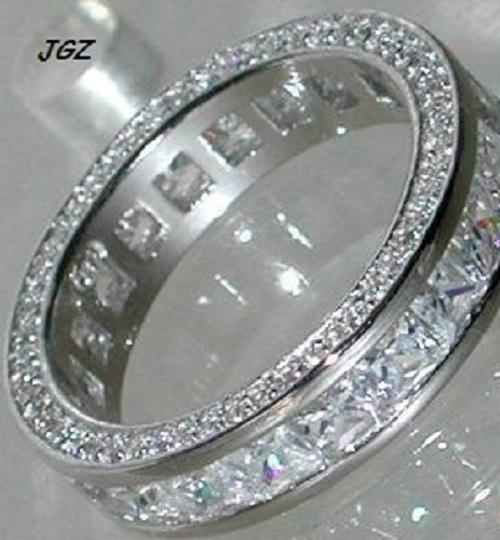 Solid .925 Sterling Silver & Rhodium Platinum Finish Princess Cut Anniversary - Eternity Band Sz5/6/7/8 &9 * New * Ring