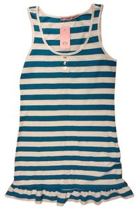 Juicy Couture short dress stripe white blue Sleeveless Pique Ruffle on Tradesy