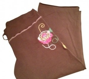 Pink Lotus Sweatpants With Drawstring Capris Brown, small floral design