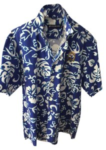 Seegler Embroidered Sailboat Palm Trees Resort Vacation Wear New Button Down Shirt Royal Blue & White Men's Tropical Shirt